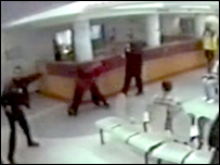 CCTV footage of NHS security staff being attacked