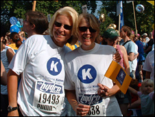 Fiona Loud with friend Celia Heney who ran with her for Kidney Research UK
