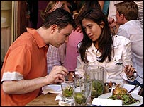 A couple eating food in a restaurant
