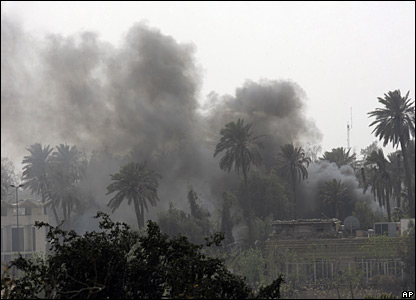 Smoke rises from the Green Zone in Baghdad, 28 March 2008