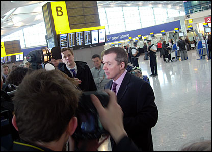 British Airways' chief executive Willie Walsh talks to the press