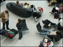 Passengers waiting at Heathrow's Terminal 5