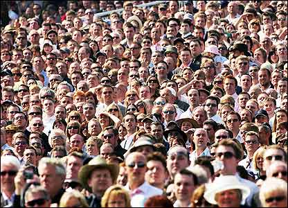 crowd of people. The crowd at Aintree