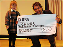 Mark Beaumont receives cheque