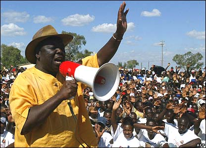 Opposition leader Morgan Tsvangirai at an election rally in Domboshava on Friday