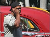 A Cuban man talks on a mobile phone in Havana on Friday
