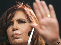 Argentina President Cristina Fernandez on 27 March 2008