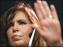 Argentina President Cristina Fernandez on 27 March 2008