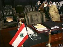 The Lebanese delegation's seats remain empty at the start of the Arab summit on 29 March