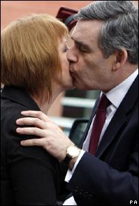 Gordon Brown greets Lesley Quinn