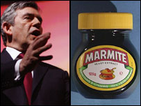 Gordon Brown and jar of Marmite