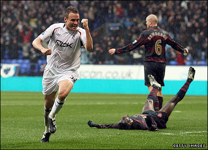 Matthew Taylor celebrates scoring for Bolton