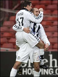 St Mirren striker Craig Dargo celebrates