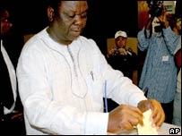 Morgan Tsvangirai votes in Harare