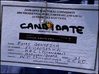 Enias Gengezha's candidate badge