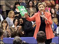 Hillary Clinton campaigns at Ben Davis High School in Indianapolis