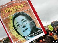 Poster showing Farc hostage Ingrid Betancourt