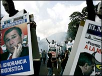 Supporters of President Chavez hold a rally in Caracas