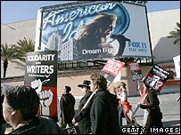 Hollywood writers and actors on the picket line earlier this year
