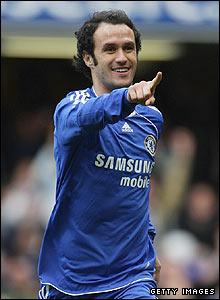 Ricardo Carvalho celebrates scoring Chelsea's opener