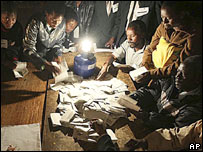 Votes are counted at a poll station near Harare.