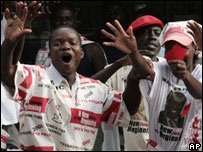 MDC supporters celebrating