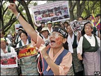 Tibetan refugees protest in India. File photo