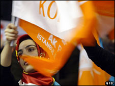 A supporter of the AK party in Istanbul. File photo