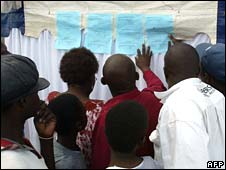 Zimbabweans read draft election results posted at a polling station in Harare on 30 March 2008