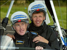 Miles Hilton-Barber and co-pilot Storm Smith (right)