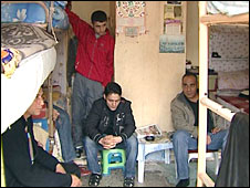 Men in cell at Bayrampasa prison, Turkey