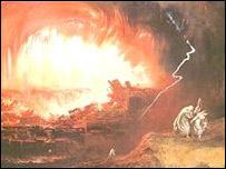 Impresi�n art�stica de John Martin sobre la destrucci�n de Sodoma y Gomorra