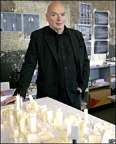 Prize-winning French architect Jean Nouvel, with a model in his office