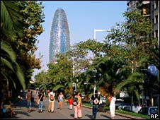 The Agbar Tower in Barcelona, designed by French architect Jean Nouvel