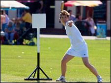 Sharon Scott of Horsted Keynes Stoolball Club in action