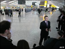 BA chief executive Willie Walsh addressing the media