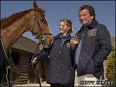 Toasting Bindaree's success in 2002 with stable lass Sam Wood