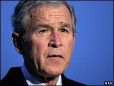 George Bush addresses reporters before setting off to Ukraine on Monday