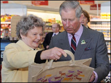 Prince Charles at Booths supermarket in Kendal, Cumbria