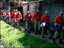 Firemen in Coroado, Brazil, March 2008.