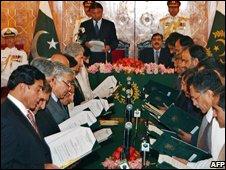New cabinet being sworn in