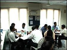 Employees of Blueshift having lunch