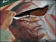 Torn poster of Robert Mugabe
