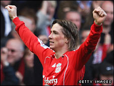 Fernando Torres celebrates Sunday's winner against Everton