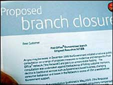 Proposed branch closure letter