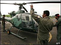 Imagen de archivo de un helicóptero Gacela del ejército ecuatoriano