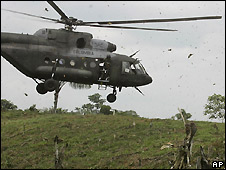 Colombian military helicopter near Ecuadorian border - file photo 11/03/2008