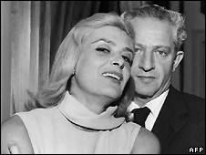 Jules Dassin (right) with his wife Melina Mercouri in Paris on 16 January 1966