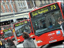 London buses outside Victoria station. Picture courtesy of Transport for London.