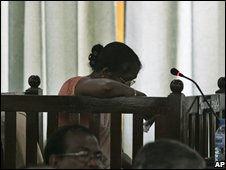 Relative of one of the murdered 17 aid workers breaks down during the hearing of the case in Colombo